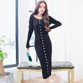 現貨黑色長袖包臀洋裝連身裙23550