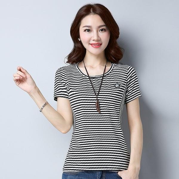 FINDSENSE G5 韓國時尚 條紋 T恤 圓領 短袖 純棉 小衫 百搭 打