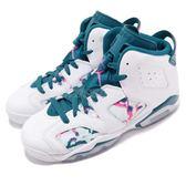 Nike Air Jordan 6 Retro GG Green Abyss 白 綠 藍綠 特殊圖騰設計 女鞋 大童鞋 喬丹 6代【PUMP306】 543390-153