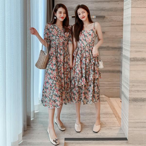 超殺29折 韓國風復古碎花長款吊帶雪紡蛋糕裙短袖洋裝