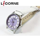 【萬年鐘錶】 LICORNE 力抗 entree  淡紫蝶背錶面 日期  白皮錶帶 LT055LWVW