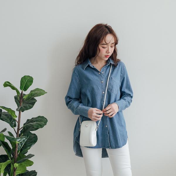 MIUSTAR 壓排釦單口袋側開衩牛仔襯衫(共2色)【NH0115】預購