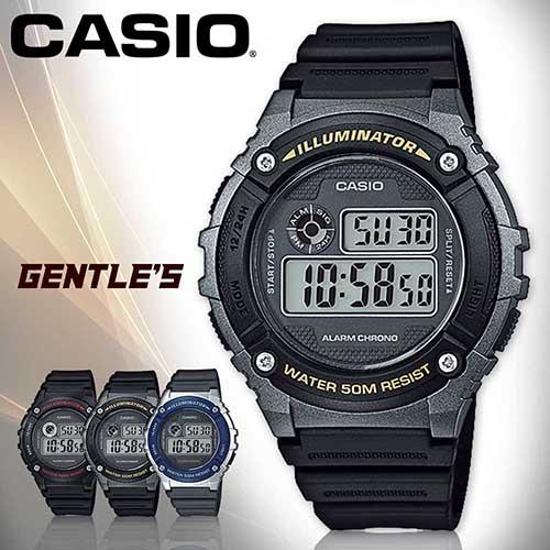 CASIO手錶專賣店 卡西歐 W-216H-1B 男錶 銀框金字 電子錶 數字 防水50米 LED背光照明 碼錶 橡膠錶帶