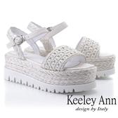 ★2019春夏★Keeley Ann簡約一字帶 牛皮編織厚底涼鞋(白色) -Ann系列