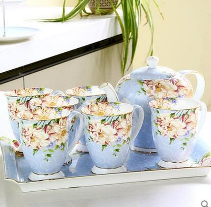 陶瓷杯具家用水杯套裝 杯子托盤水俱歐式耐熱茶壺茶具冷水壺禮盒