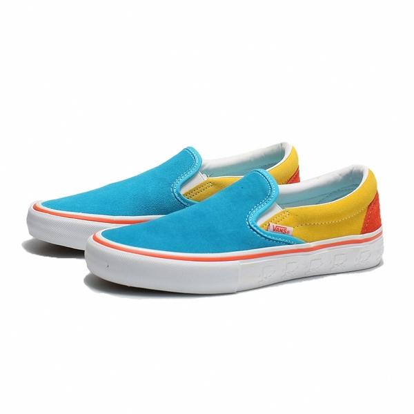VANS 休閒鞋 懶人鞋 SLIP-ON PRO 藍黃橘 麂皮 休閒 男 (布魯克林) VN0A347V13M