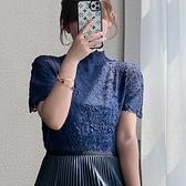 短袖T恤-高彈力褶皺純色高領薄款女上衣6色73zs50[巴黎精品]