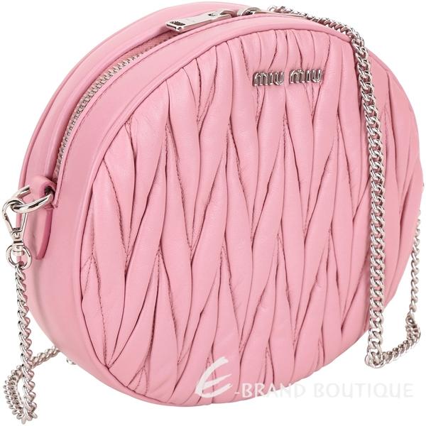 miu miu Matelasse 皺褶小羊皮圓型鍊帶包(中款/粉色) 1730043-05