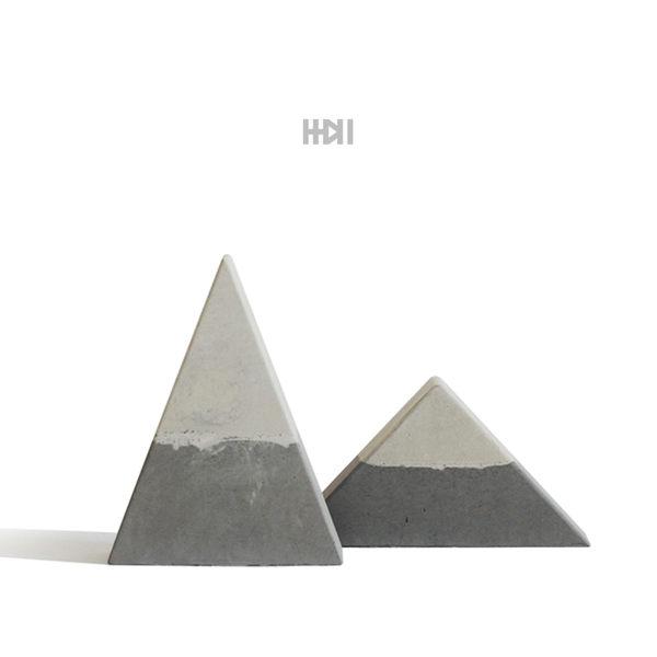 三角形 水泥雪山擺件 灰色粉紅色 北歐家居 富士山 森活雜貨