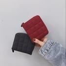 韓版簡約格子迷你小錢包女 拉鍊錢夾可愛零錢包學生短款卡包 完美居家生活館