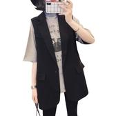 黑色西裝馬甲女中長款馬夾外套2019春秋新款韓版無袖坎肩背心外穿 嬌糖小屋