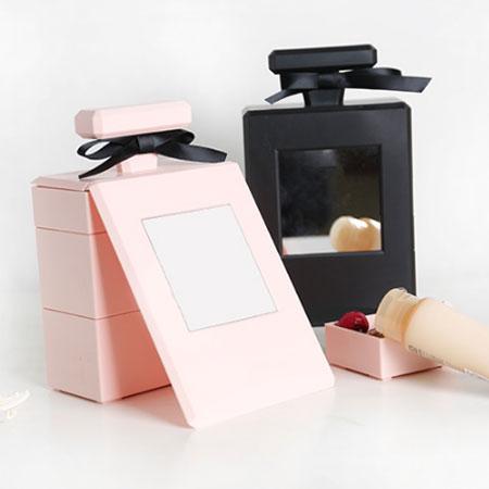 香水瓶造型收納盒 飾品盒 化妝鏡 鏡子 立鏡 首飾收納盒 小物 收納 化妝品 情人節 禮物