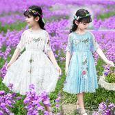 女童短袖洋裝長裙大童夏裝8韓版兒童裙子9女孩蕾絲公主裙12歲10  米娜小鋪