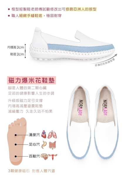 女鞋 休閒鞋 懶人鞋 MIT台灣製 真皮鞋 拼接草編壓紋磁力厚底氣墊球囊鞋(天空藍)—諾蕾蒂Normlady
