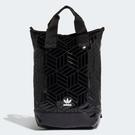 J- adidas ORIGINALS ROLL-TOP BACKPACK 後背包 漆皮 亮面 三葉草 全黑 FL9675