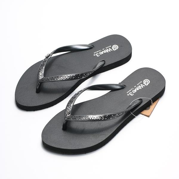 WAVE3 黑銀LOGO 夾腳拖 人字拖 海灘 拖鞋 女生 (布魯克林) 16205801