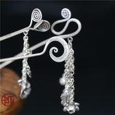 手工老銀中式古典花朵墜兒純銀髮簪