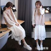 秋裝新款寬鬆顯瘦蕾絲大碼兩件式套裝洋裝女針織毛衣背心過膝套裝裙  AB5948  【123休閒館】