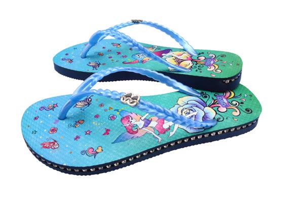 QWQ創意鞋- 精靈之舞 施華洛世奇水鑽夾腳人字拖鞋-藍 (范特西系列 )