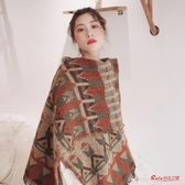 披肩毯 設計感加厚超大圍巾披肩兩用女秋冬季復古保暖旅游拍照披風小毛毯 2色