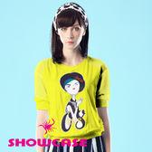 【SHOWCASE】棉麻感不屑女孩拼接荷葉邊上衣(黃)