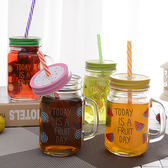 正韓創意吸管梅森杯個性情侶彩色檸檬果汁飲料玻璃水杯帶蓋公雞杯【七夕節88折】