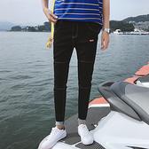 新款夏季九分牛仔褲子男士休閒修身小腳韓版潮流青年彈力薄款