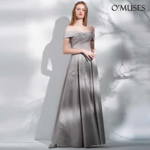 OMUSES 一字領金蔥晚宴伴娘婚紗訂製銀色長禮服