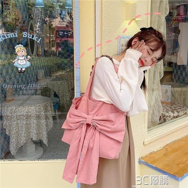 小白兔幾 可愛蝴蝶結帆布包女手提大容量單肩包軟妹少女心購物袋 3C優購
