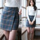 韓風高腰格紋不規則包臀短裙 S-XL碼【D927399】