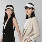 【ISW】蝴蝶結黑色編織空頂帽 網球帽