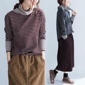 條紋高領針織衫秋冬新款文藝加肥胖mm寬鬆大尺碼磨毛內搭打底上衣潮