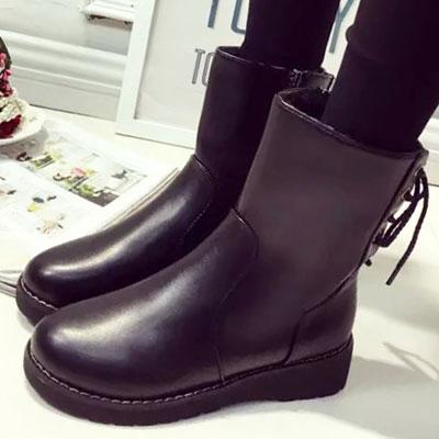 短靴 韓版帥氣側拉鍊綁帶質感短靴【S1429】☆雙兒網☆