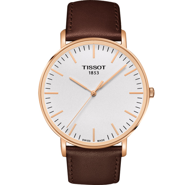 TISSOT 天梭 Everytime 經典雋永手錶-銀x玫塊金框/42mm T1096103603100