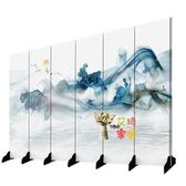 屏風 定製新中式屏風 隔斷玄關時尚酒店臥室現代簡約辦公室水墨裝飾摺疊布藝T 6色