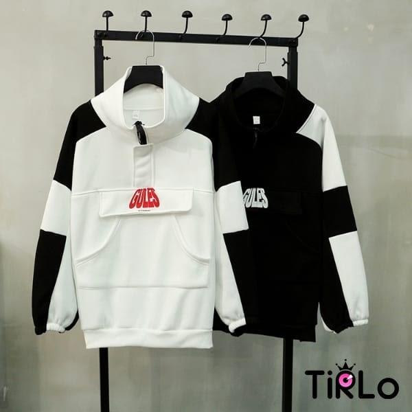長T-Tirlo-男友風黑白配色寬鬆長T-兩色(現+追加預計5-7工作天出貨)