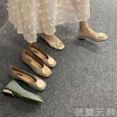 復古奶奶鞋粗跟單鞋女低跟豆豆鞋春款OL方頭圓頭韓版淺口瓢鞋 至簡元素