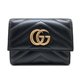 【台中米蘭站】全新品 GUCCI GG Marmont 絎縫人字形條紋牛皮中夾(474802-黑)
