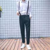 秋新款青年哈倫休閒褲 男修身長褲西褲背帶褲男士小腳褲潮男