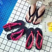 夾腳涼鞋女 瑜伽人字拖休閒夾拖沙灘鞋彈力布露夾趾涼鞋外穿女拖鞋