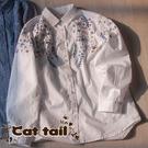 《貓尾巴》KT-0571 復古重工刺繡寬鬆翻領棉麻長袖襯衫(森林系 日系 棉麻 文青 清新)