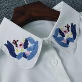 假領子針織外套領片雪紡紗刺繡日系氣質領片 洋裝大學T針織衫內搭白色[E1262] 預購.朵曼堤洋行