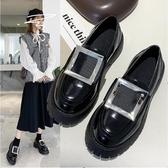春新款黑色圓頭水鉆方扣鬆糕厚底百搭增高英倫風樂福鞋 洛小仙女鞋