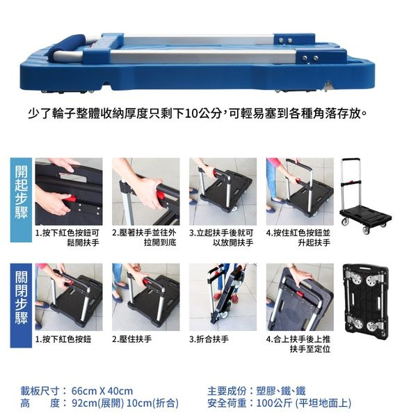 [ 家事達 ] HD- TRENY 四輪收納塑鋼手推車 - 荷重100公斤 特價