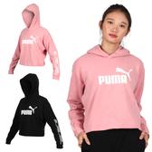 PUMA 女基本系列長厚連帽T恤(帽T 慢跑 短版 圈毛 免運 ≡排汗專家≡