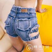 歐美性感修身A字包臀牛仔短褲女毛邊高腰顯瘦側開叉提臀熱褲女夏