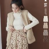 背心 暖暖QQ羊羔毛麂皮絨雙口袋包邊外搭罩衫-BAi白媽媽【191281】