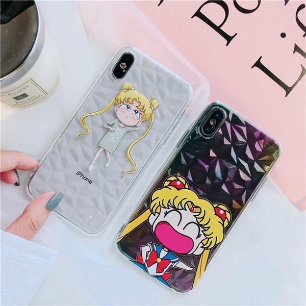 【SZ32】iphoneX手機殼 美少女水冰月 立體菱形 全包 軟殼 透明 iPhone7/8 plus手機殼 iPhone6s手機殼