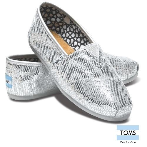 TOMS 經典亮片懶人鞋-女款(001013B07 SILVR)