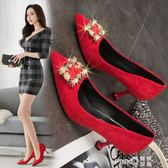 水鉆婚鞋女2019夏季新款新娘鞋紅色高跟鞋女細跟百搭尖頭淺口單鞋   (PINKQ)